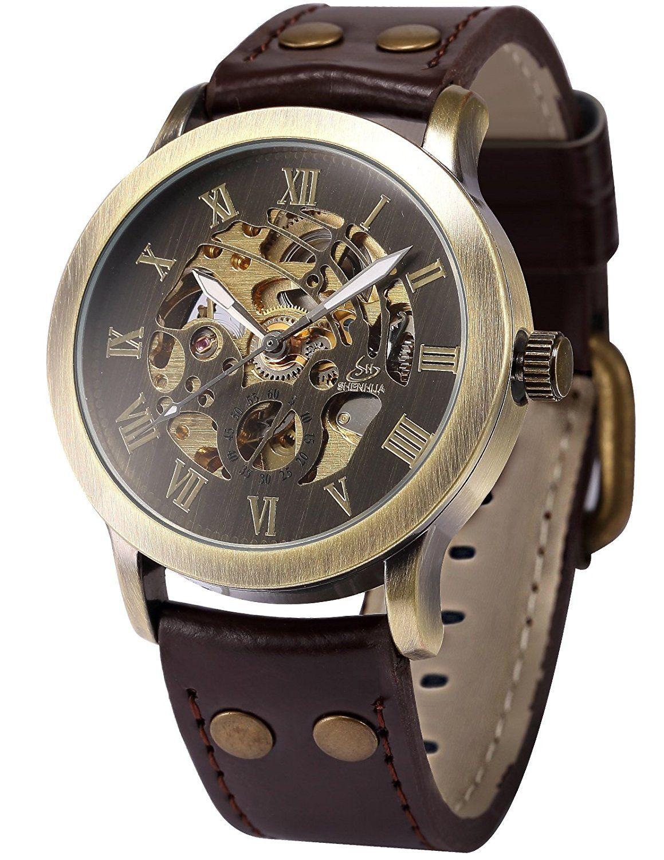f90f348448e Relógio Masculino Bronze Esqueleto Automático Couro