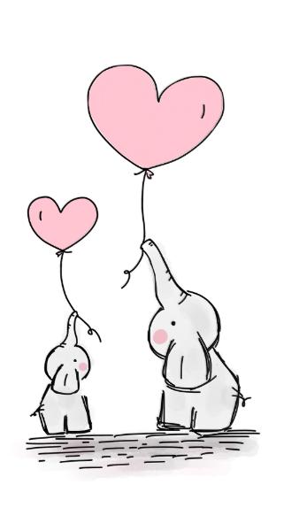 Cute Heart Girl Pink Elephant Mommy & Baby Shower Classic Round Sticker | Zazzle.com