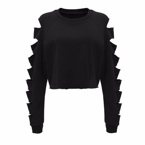 Womens Long Sleeve Ripped Cropped Hoodie Sweatshirt Tops Jumper | Wish