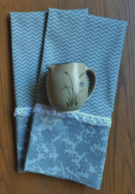2 Gray Chevron Dish Towels Tea Towels Kitchen by juliegalbraith, $15.00