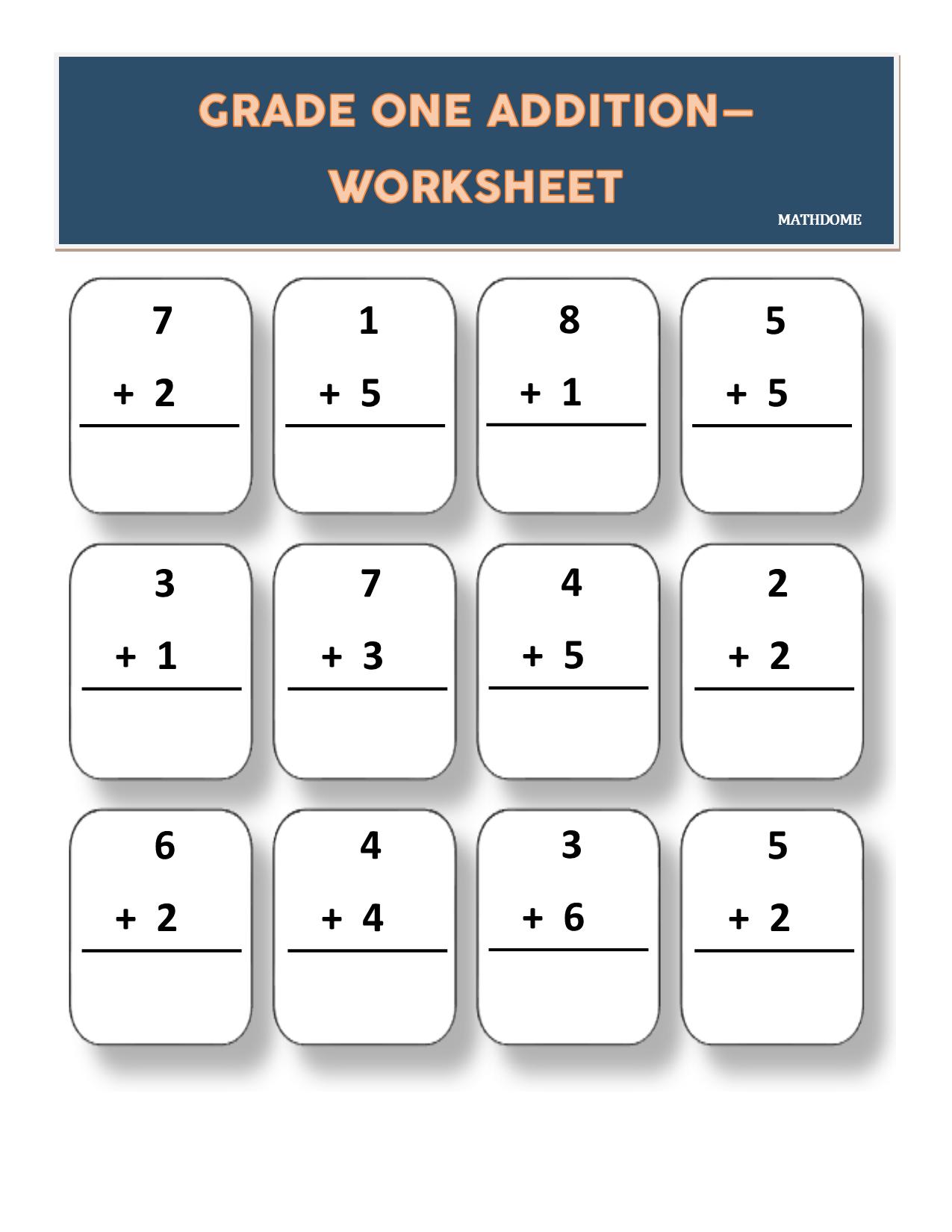 Grade One Addition Math Worksheet Make It Fun Make It