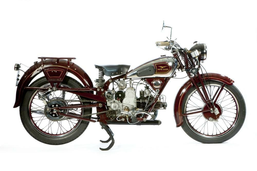 1934 Moto Guzzi GTS Motorcycle :: Sport Antiques UK-This model was produced from 1934 until 1941 and only 2,952 where built. More of the less expensive GTW model without rear suspension where produced. This machine is in excellent near concours condition and rides beautifully. Circa: 1934