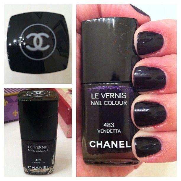 Gorgeous deep purple. Almost black! #chanel #chanelnailpolish #nail #nails #nailaddict #nailpolish  #nailpolishaddict