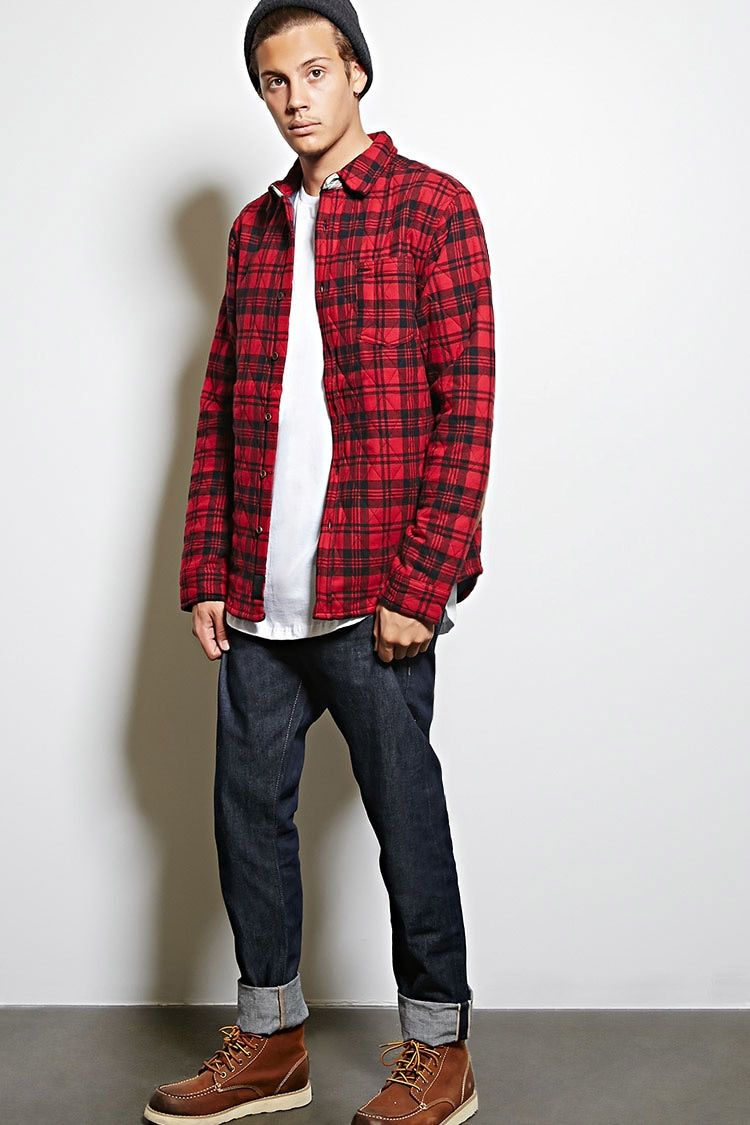 Quilted flannel shirt jacket  A quilted plaid jacket by Cohesive u Co featuring a basic collar