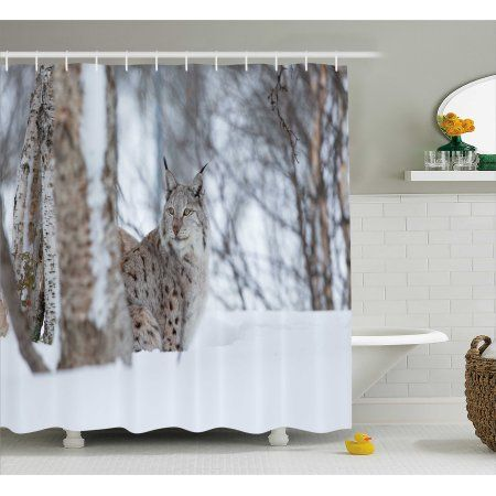 Animal Shower Curtain European Lynx Snowy Cold Forest Norway Nordic Country Wildlife Apex Predator Fabric Bathroom Set With Hooks 69W X 70L Inches