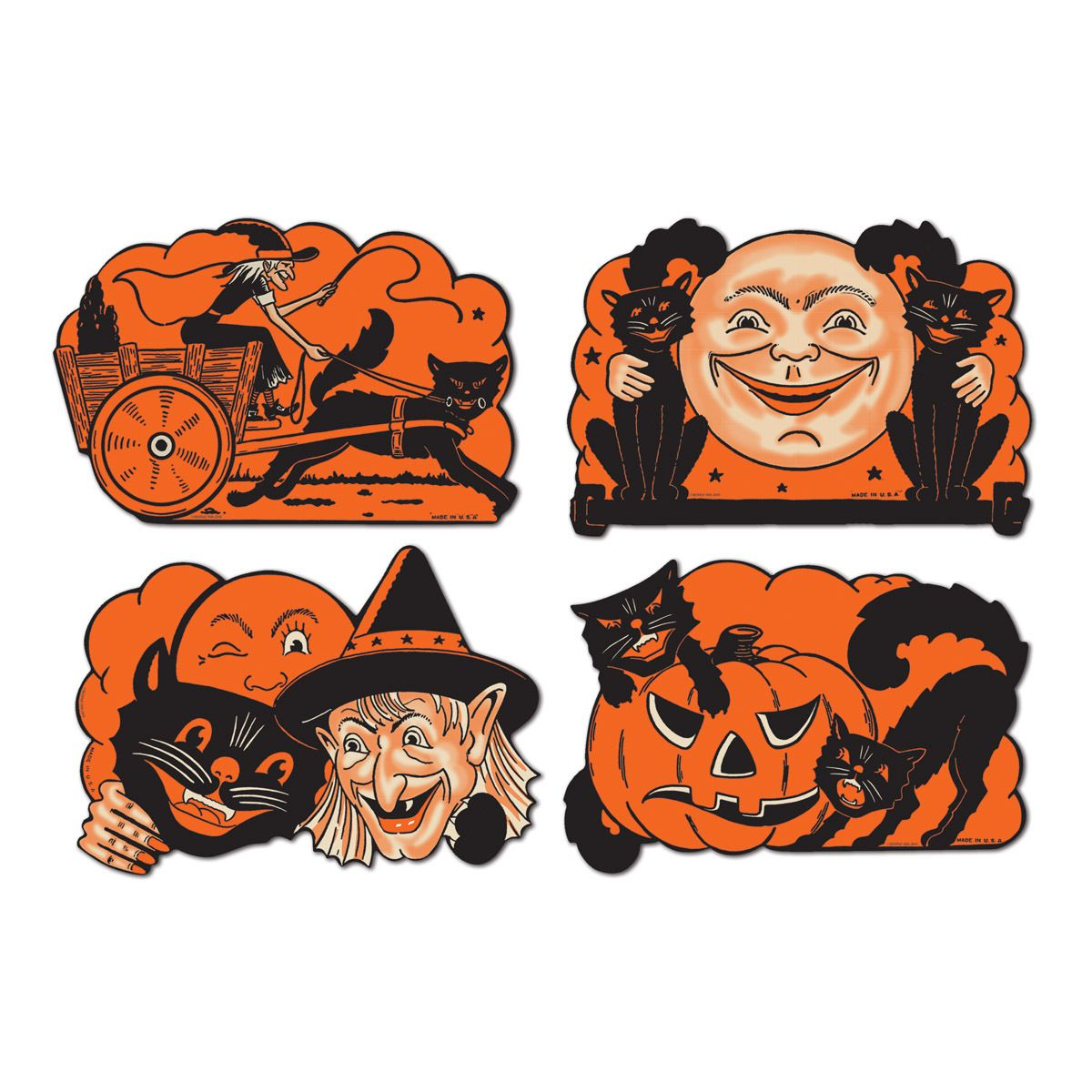 Vintage beistle halloween decorations - 4 Retro Halloween Decorations Die Cut Cutouts Vintage Beistle 1950 Reproduction Ebay