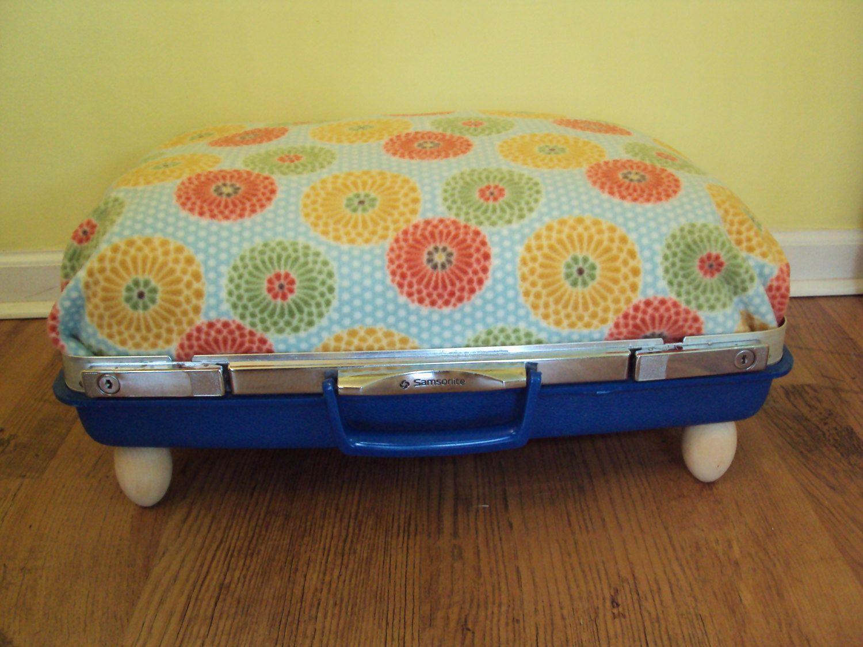 "PET BED Vintage Samsonite Suitecase Dog Cat Upcycled Comfy Sleeping 70""s Flower Power. $45.00, via Etsy."
