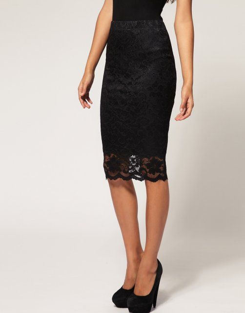 black Lace Pencil Skirt | Striking Clothing | Pinterest | Pencil ...