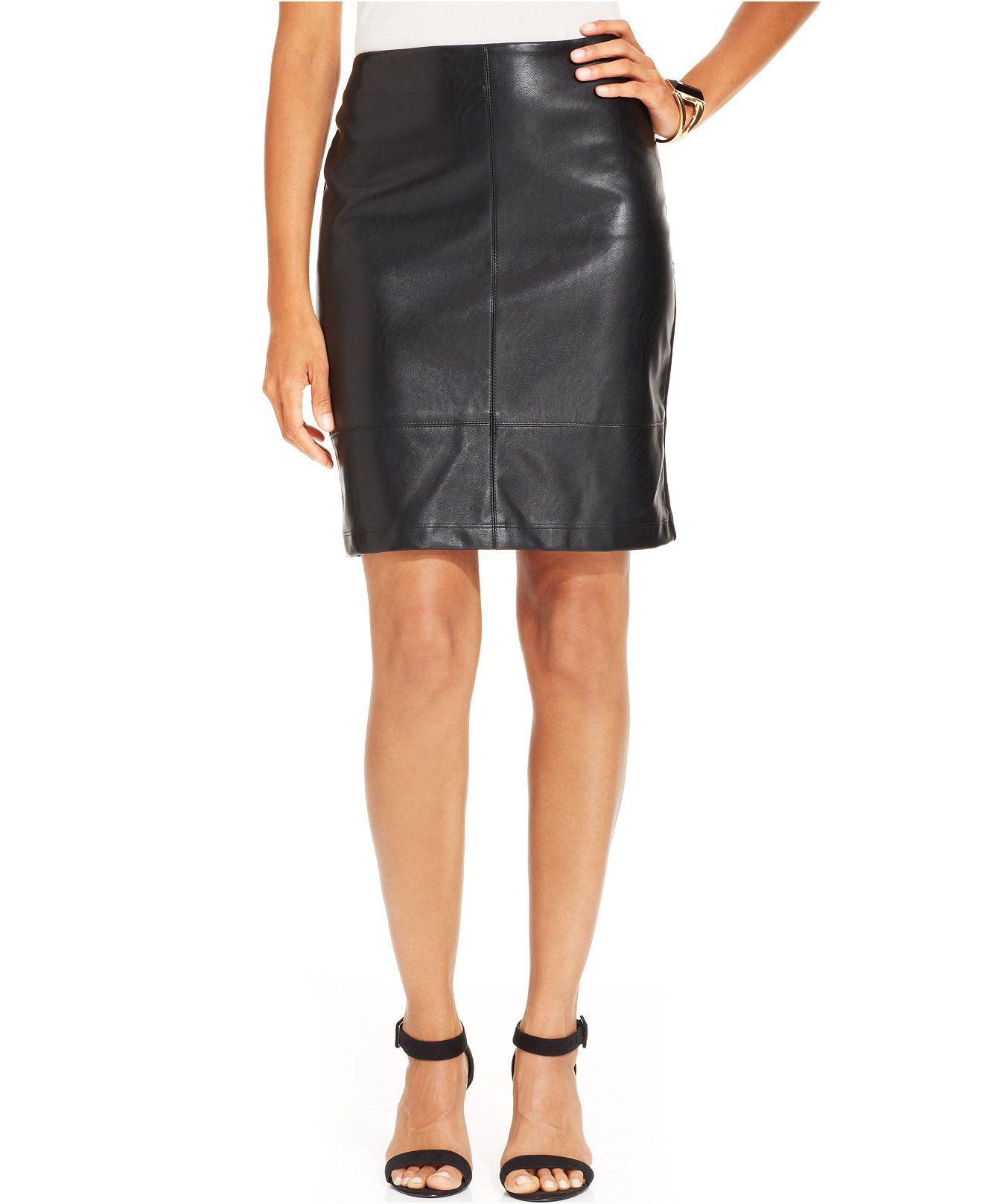Karen Kane Black Faux Leather Mixed Media Pencil Skirt - Skirts - Women - Macy's #Karen_Kane #Fashion #Macys
