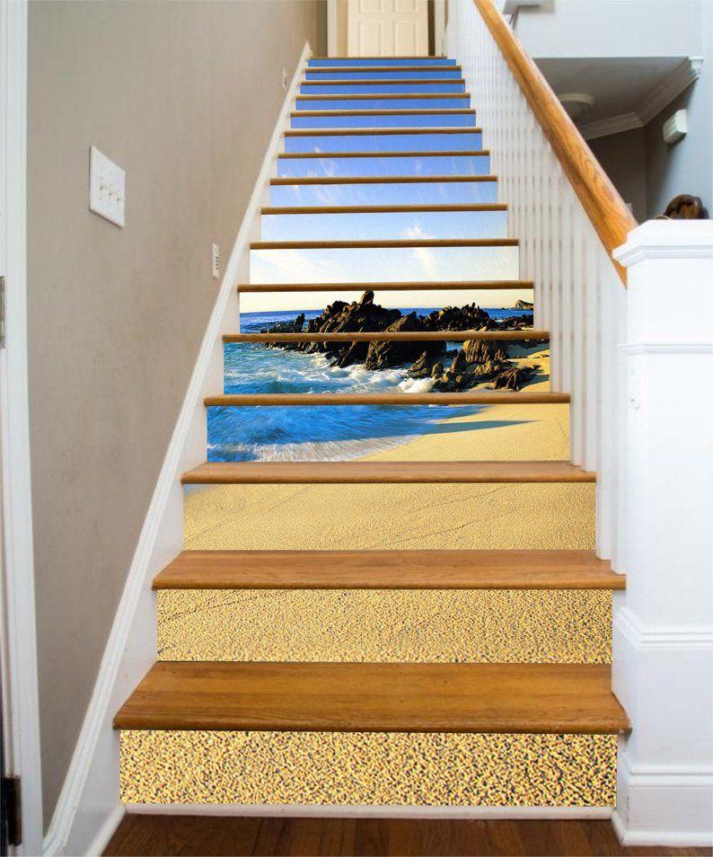 3d Seacoast Beach Stair Sticker Stair Risers Pvc Sticker Mural Etsy Stair Risers Stair Stickers Beach Stairs