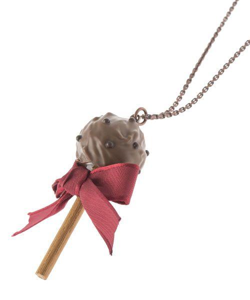 Q-pot. Lollipop Ribbon Chocolat Necklace JAPAN B704 0434