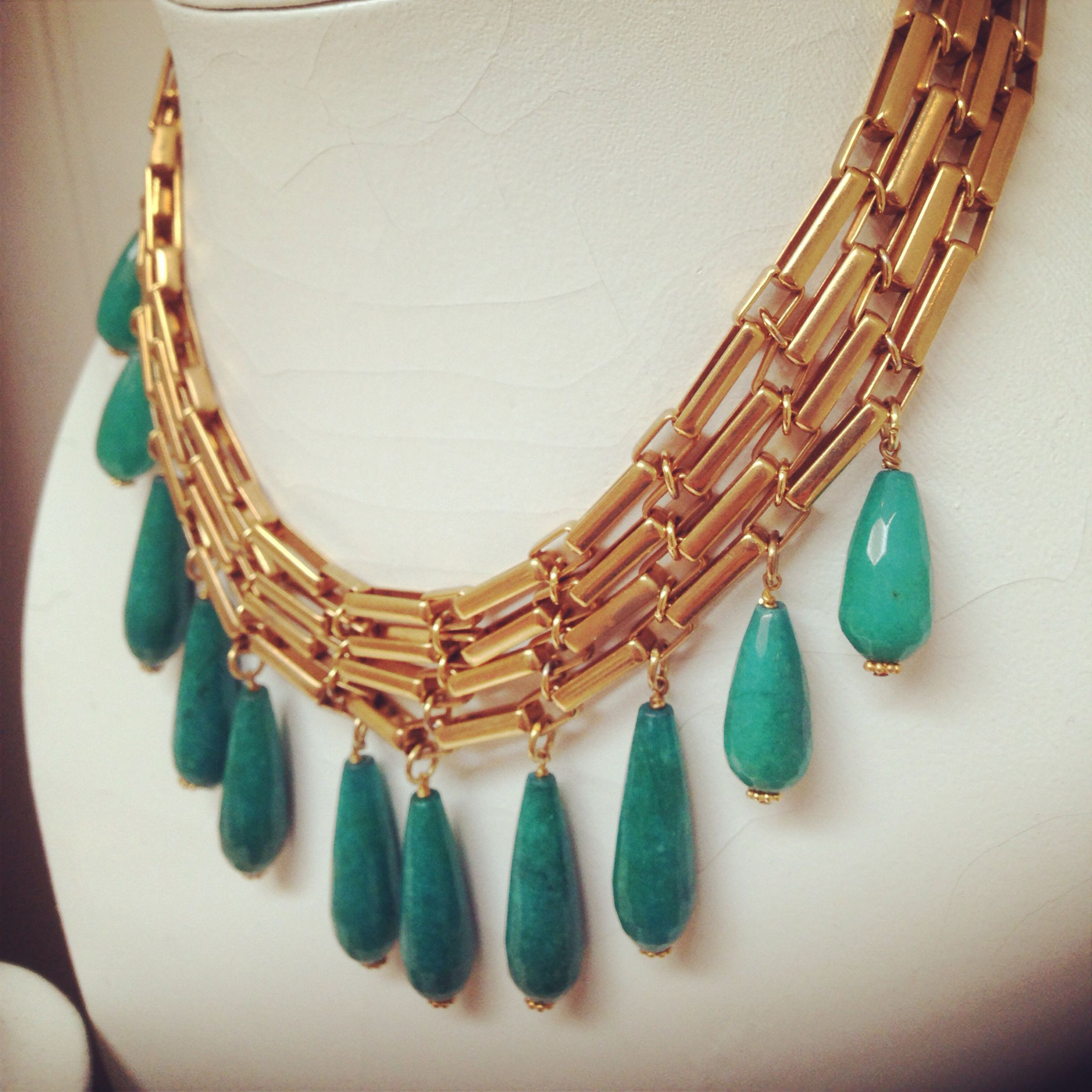 Lovely stone drop necklace in teal