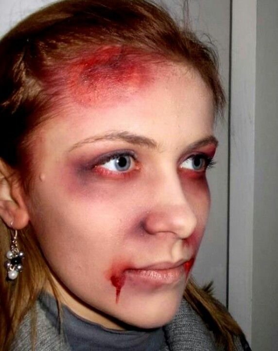 Simple Halloween Makeup With Bruises And Blood. Could Be Good For A Freshly Decaying Zombie Or A ...