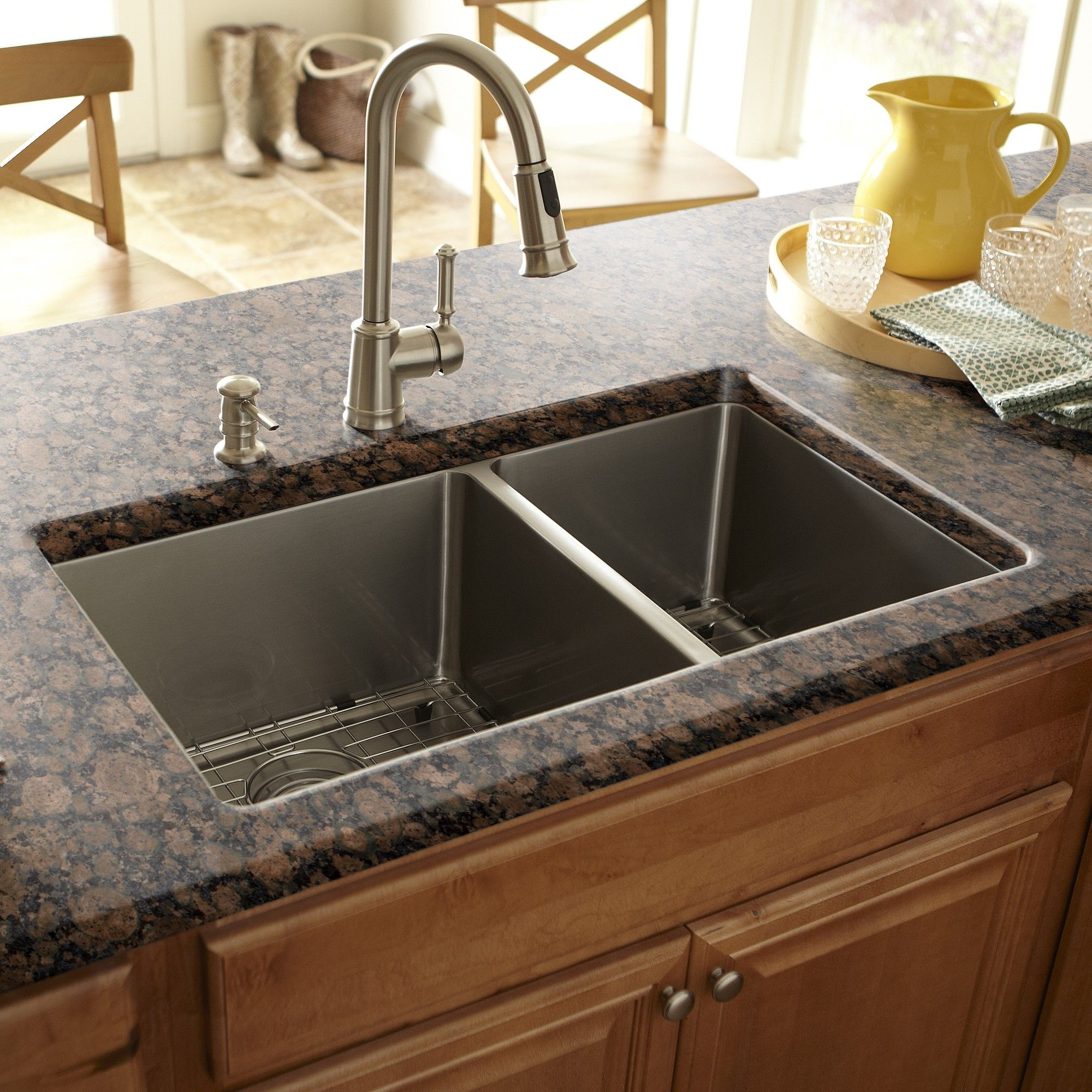Schon Double Basin Stainless Steel Undermount Kitchen Sink With Split    Includes Sink Racks And Basket Strainers