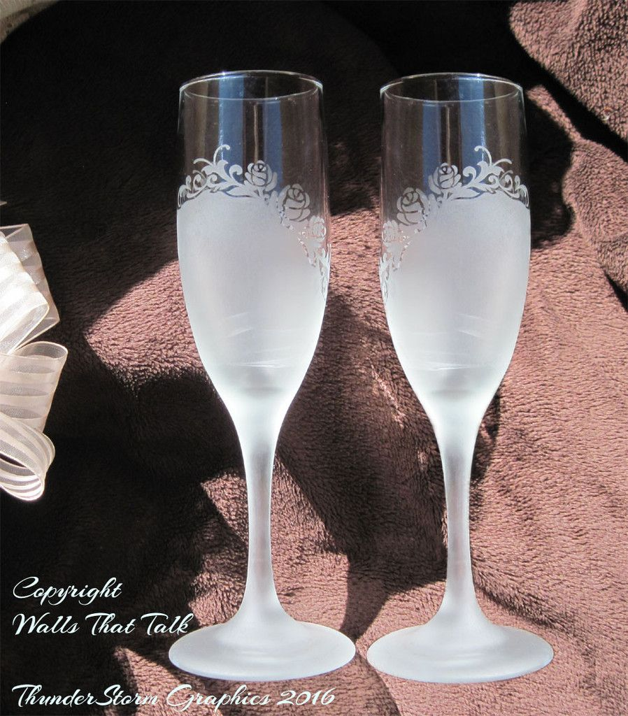 Set Of 2 Permanently Etched Double Heart And Roses Swirl Champagne Flutes Makes A Wonderful Wedding Anniversary Valentines Day Or Any Occasion Gift