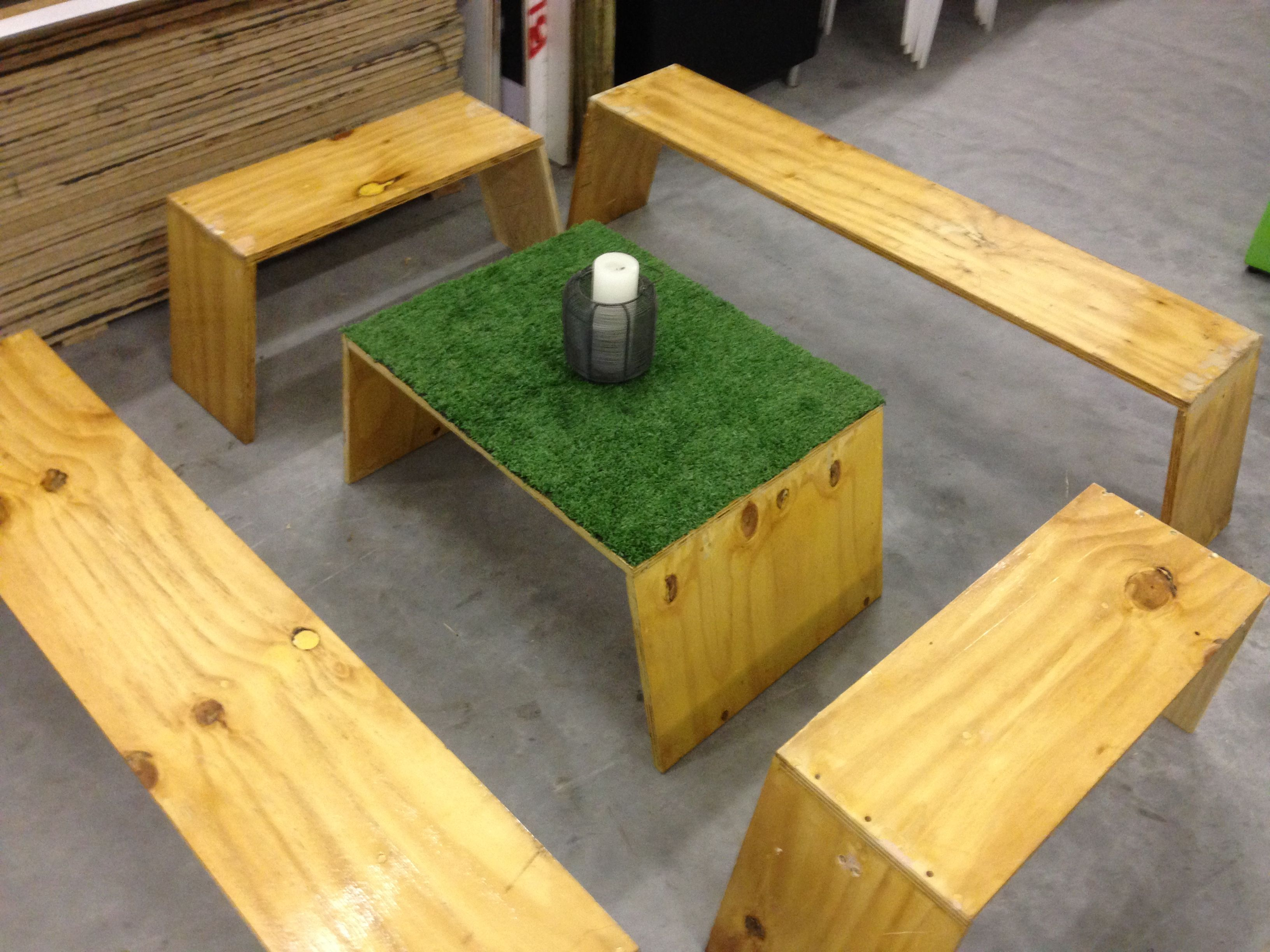 Reclaimed Shutter Ply Bench Set With Artificial Grass Detail
