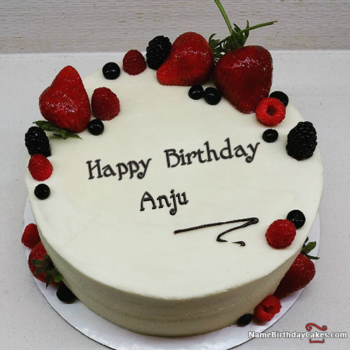 I have written anju Name on Cakes and Wishes on this birthday wish