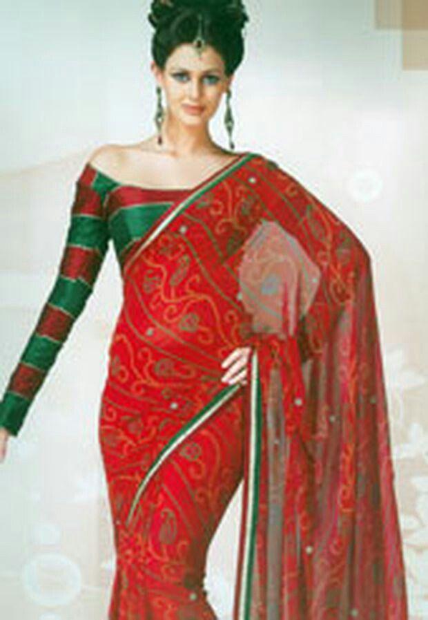 b8490251f79 Boat neck off shoulder long sleeved saree blouse design