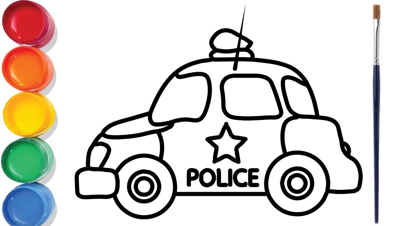 Police Car Drawing And Coloring For Kids Car Drawings Police Cars Car Drawing Kids