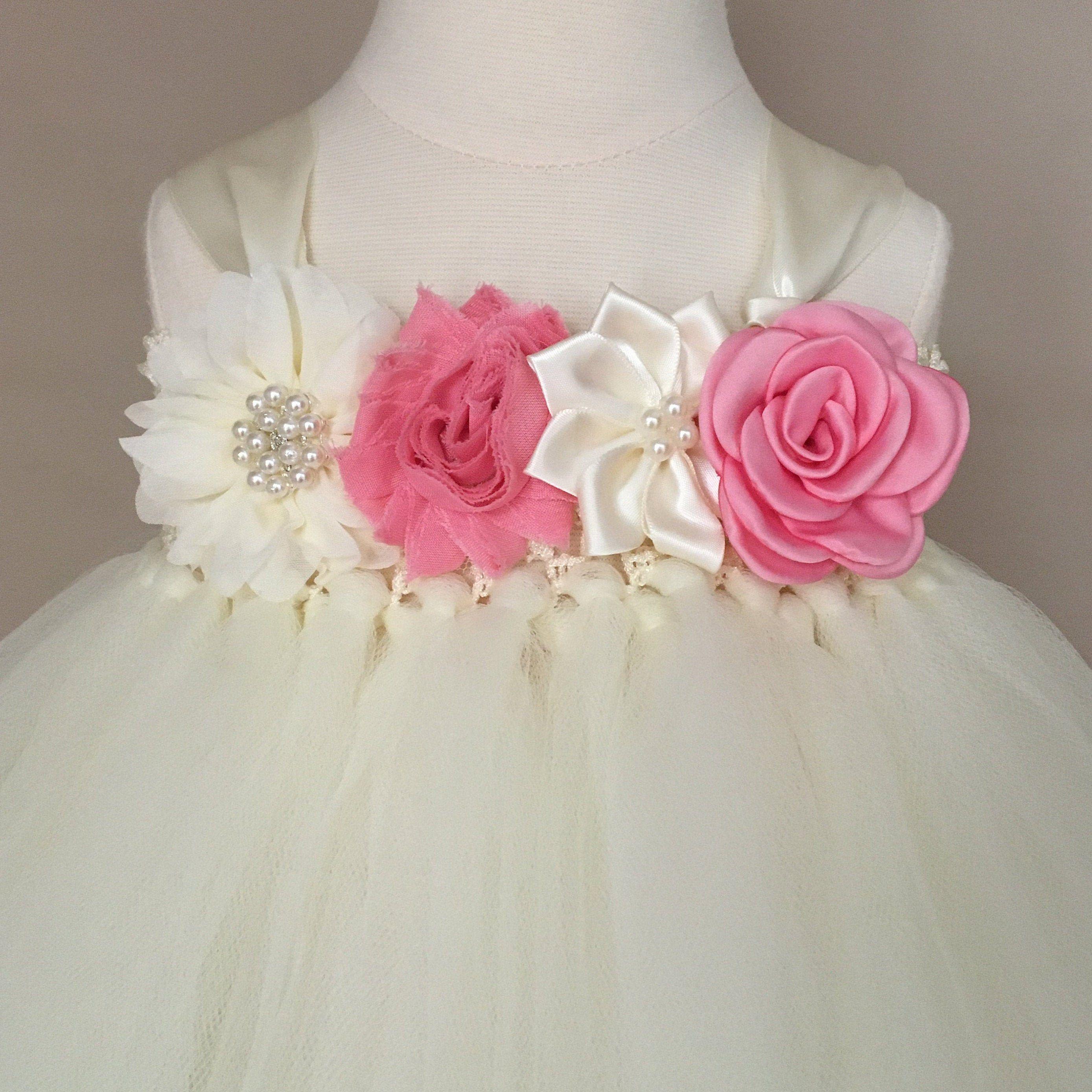 Ivory Flower Girl Dress Pink First Birthday Dress 1 Year Old Princess Girl Dress Gown Tu Pink Flower Girl Dresses Flower Girl Dresses Ivory Flower Girl Dresses