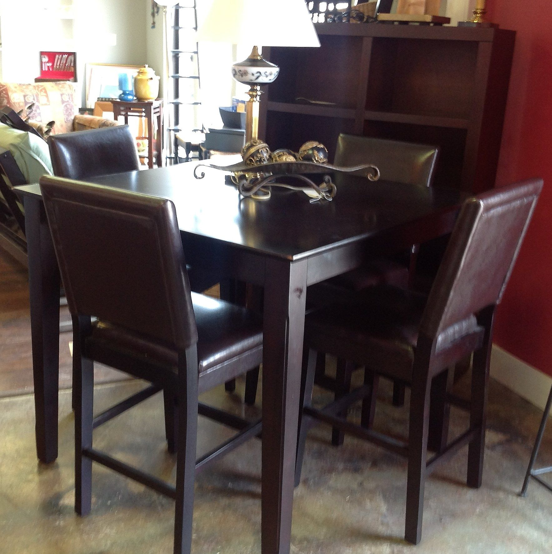 High Top Table With 4 Leather Chairs High Top Tables High Top Table Kitchen Pub Table Sets