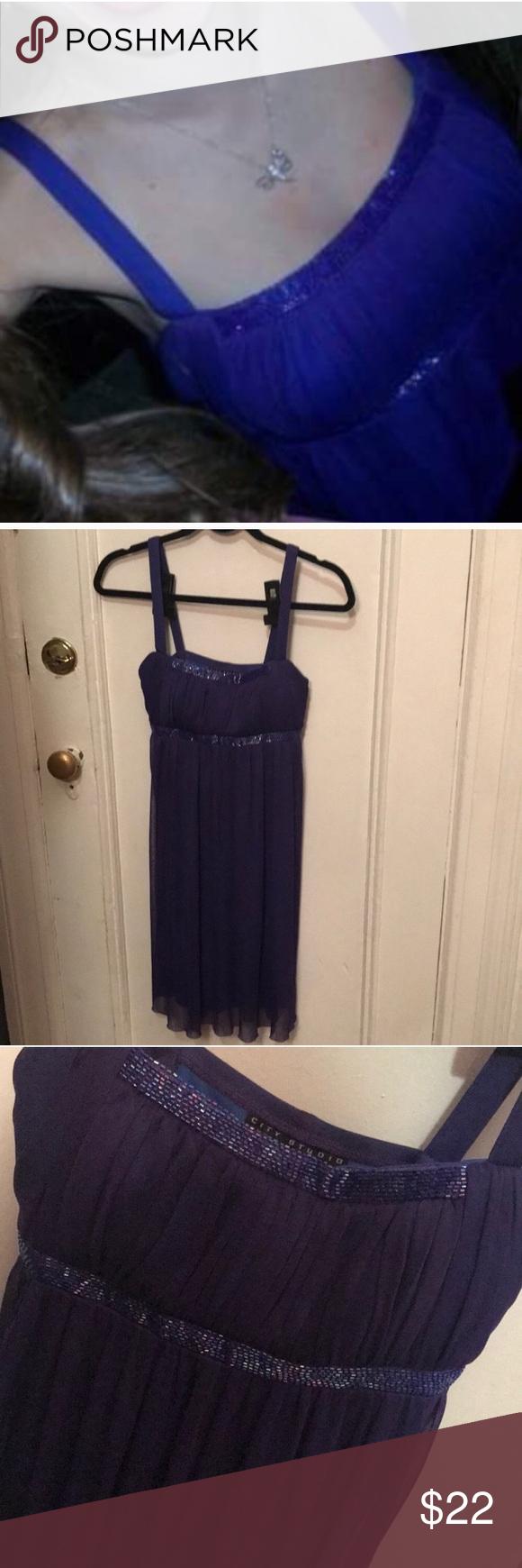 e824aae9d44 Blue jewel beaded prom mini dress small Macy s City studio brand Bought at  Macy s Beaded padded