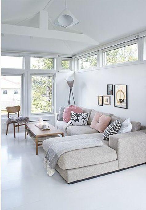 Parfait Salon Moderne Avec Canapé Du0027angle Pas Cher De Couleur Anthracite Et Lino  Blanc