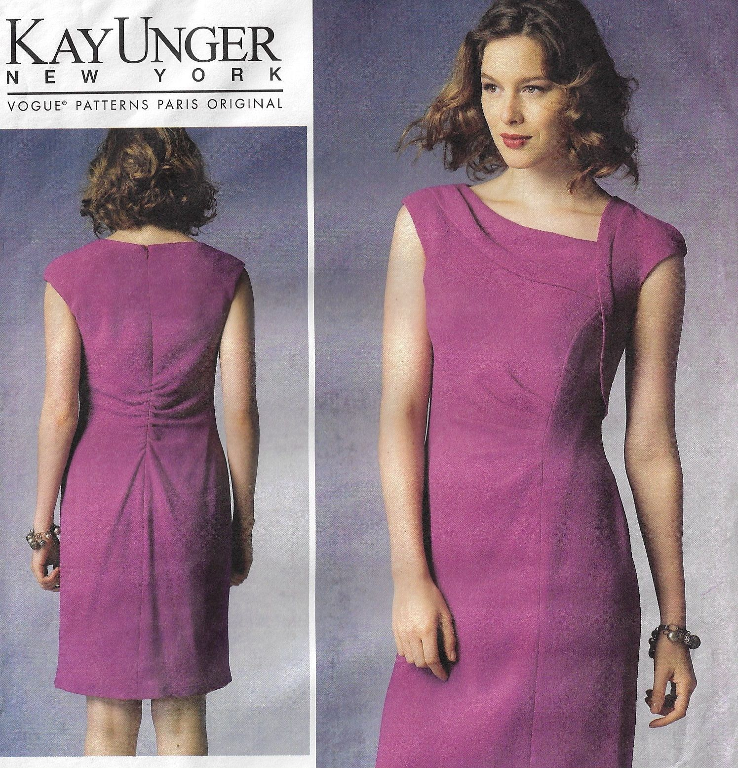 Oop Vogue Sewing Pattern V1369 Kay Unger Asymmetrical Collar Dress