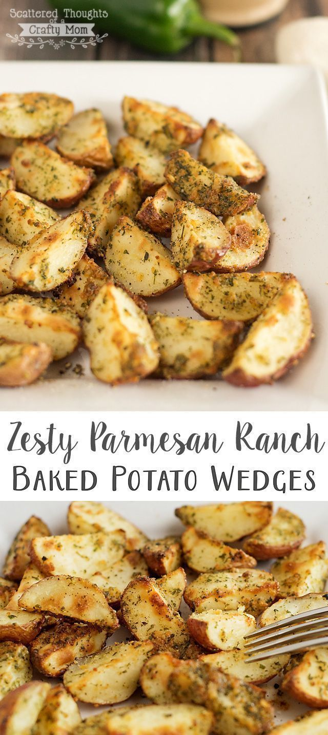 Oven Baked Zesty Parmesan Ranch Potato Wedges.  A quick and easy way to dress up your potatoes!