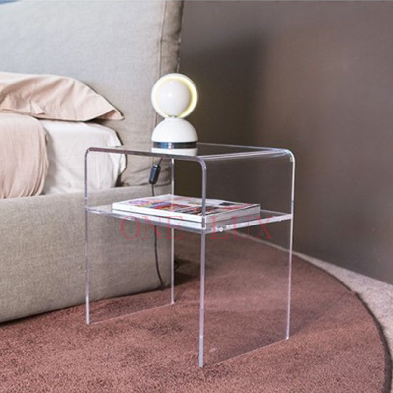 One Lux Plain And Elegant Clear Transparent Plexiglass Acrylic Bedside Table With Shelf 40w 30d 45h Acrylic Bedside Table Acrylic Nightstand Plexiglass Table