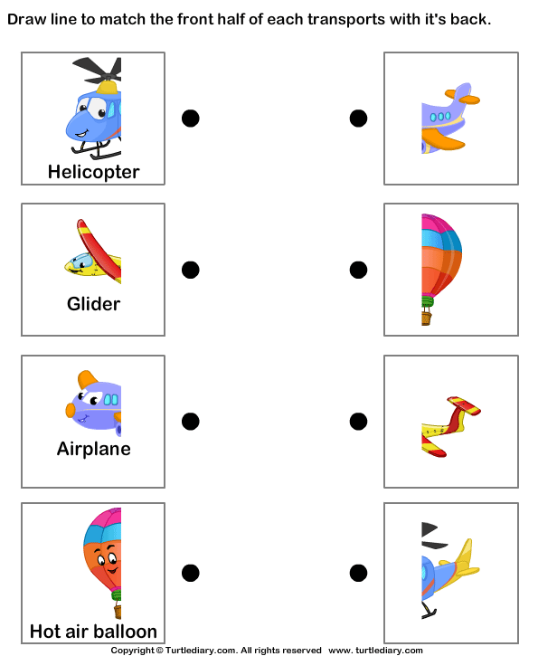Air Transport Match The Parts 1 Worksheet TurtleDiary – Transportation Worksheets for Kindergarten