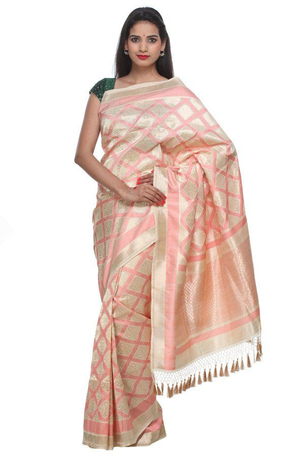 d8219bb01e Cream and gold banarasi silk saree with a hint of peach | Banarasi ...