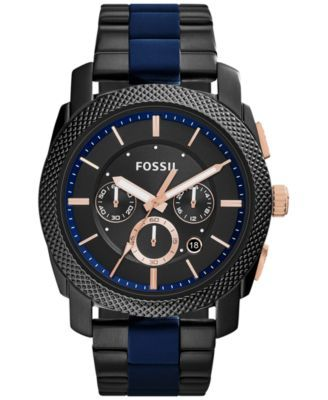 037bae69a8c Fossil Men s Chronograph Machine Two-Tone Stainless Steel and Silicone  Bracelet Watch 45mm FS5164