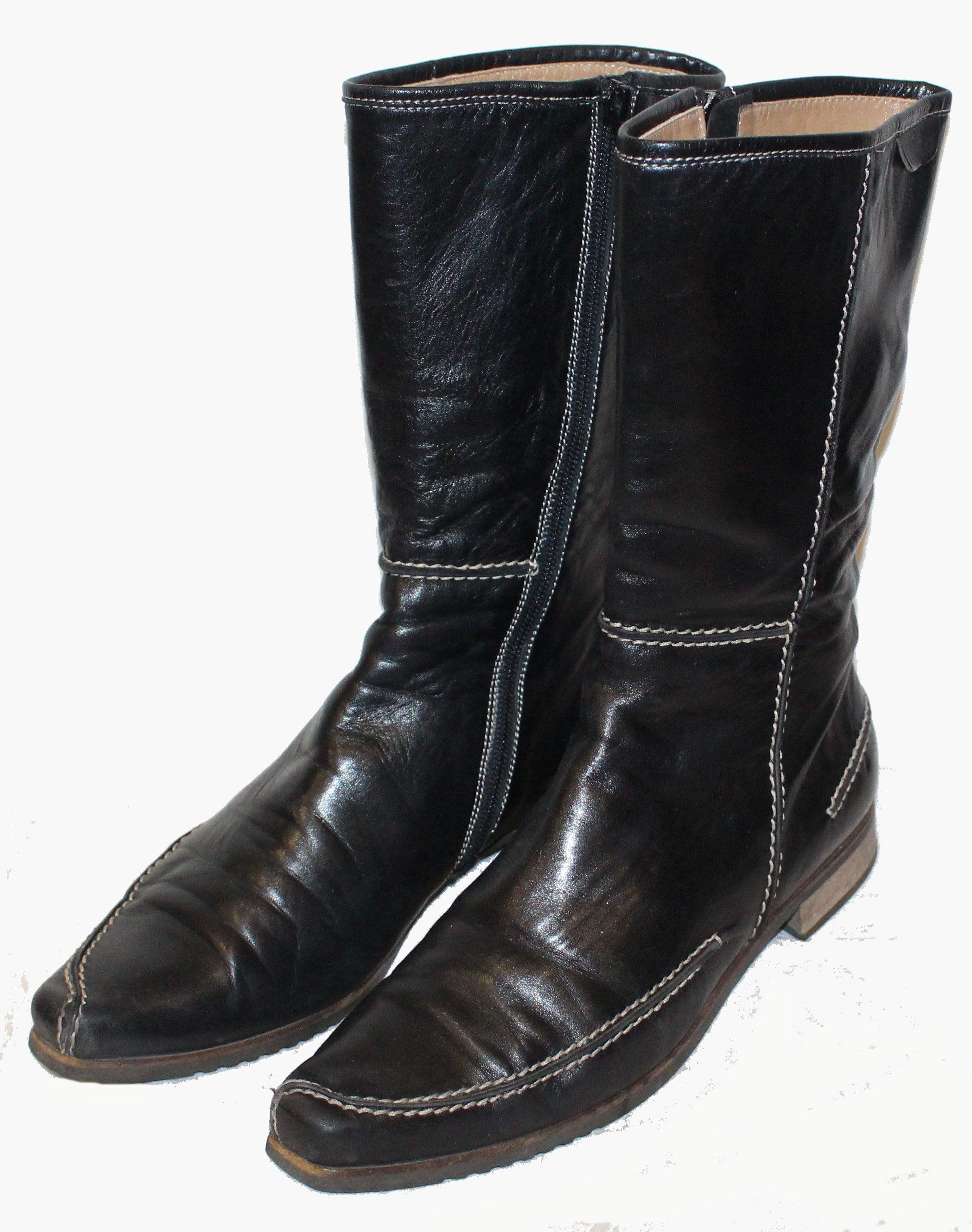 JIL SANDER Reit STIEFEL schwarz LEDER Gr. 36 | Schuhe
