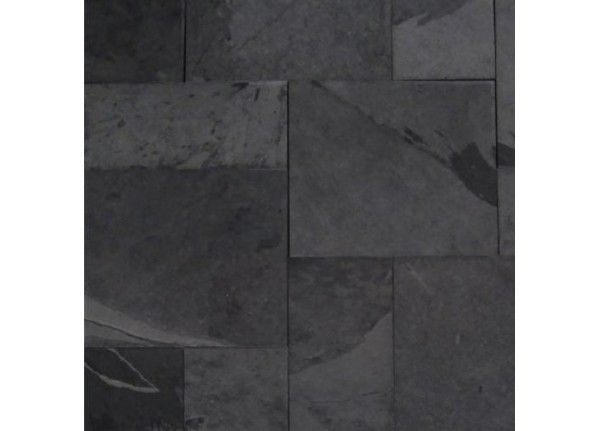 Montauk Black Slate Tile French Pattern Gauged 8 X 8