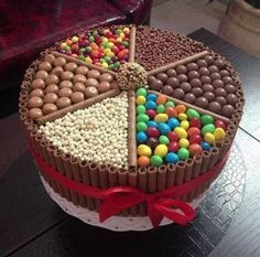Make a cake with all favorite candy like around the outside have like the chocolate inside those stick thingys(the chocolate thing Gpa Mark gave us at his house), and inside with whoppers and jelly beans ect
