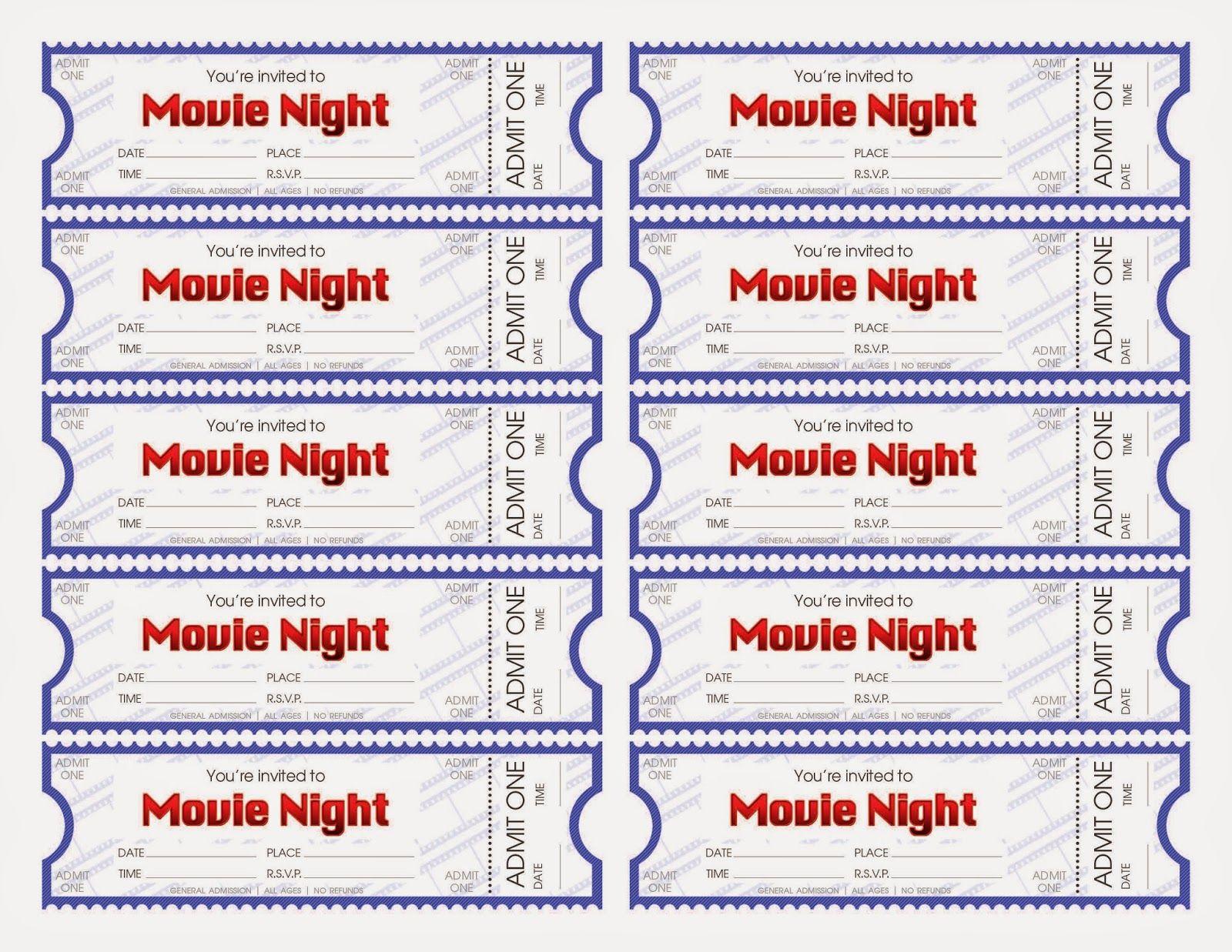 Ootw Movie Night Movie Night Flyer Movie Ticket Template Movie Night Tickets Free printable movie tickets template
