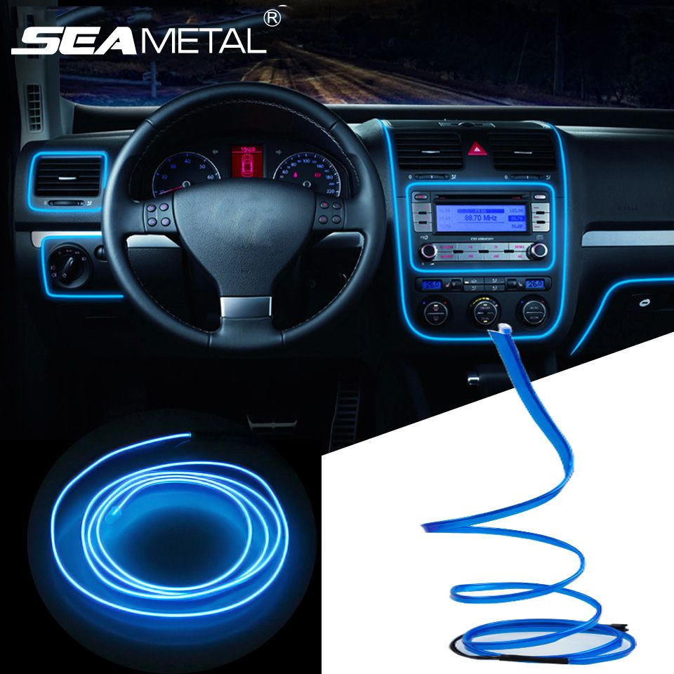 3 M 5 M De Voiture 12 V Led Froid Lumieres Flexible Neon El Fil Auto Lampes Sur Voiture Cold Light Bandes Ligne Volkswagen Jetta Car Interior Decor Volkswagen