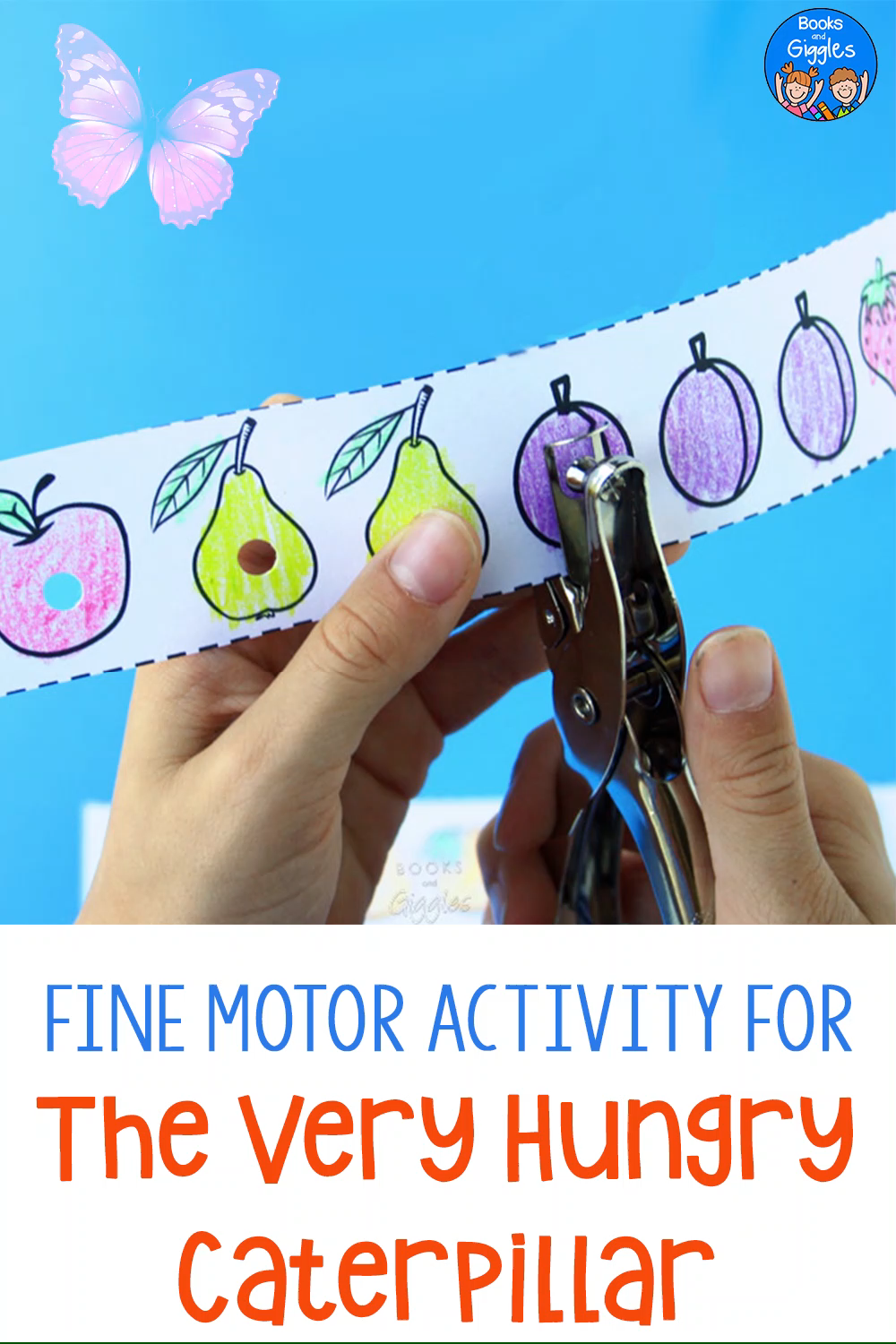This free printable Very Hungry Caterpillar activity is a fun way for preschoolers and kindergartners to work on fine motor skills, story retelling, and counting. #preschool #kindergarten #booksandgiggles