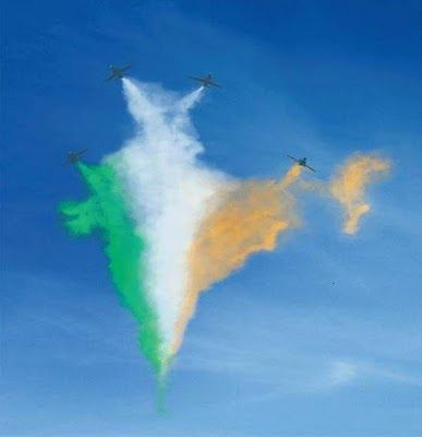 Indian Flag Made Of Colored Smoke Republic Day India Air India India Flag