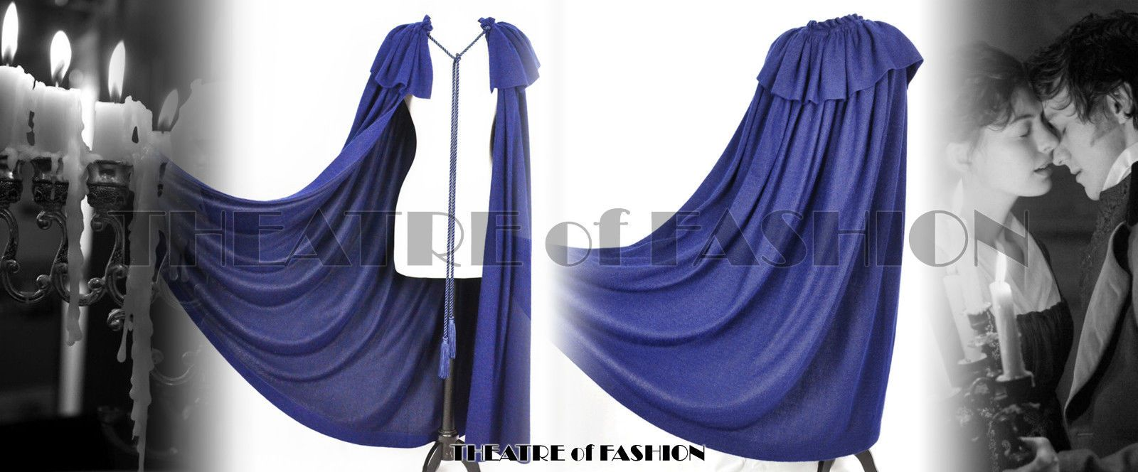 vintage ysl sapphire blue cashmere cape. strolling on dartmoor anyone?