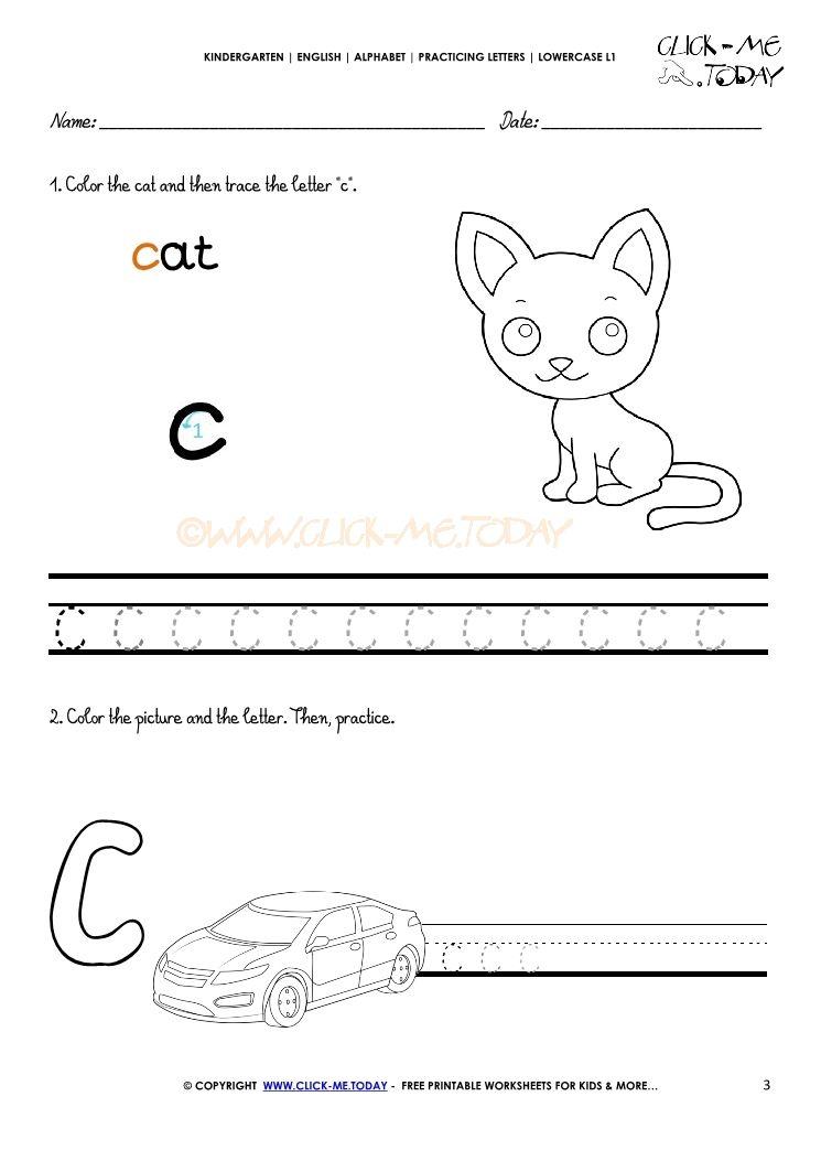 Alphabet writing worksheet for letter c Alphabet writing