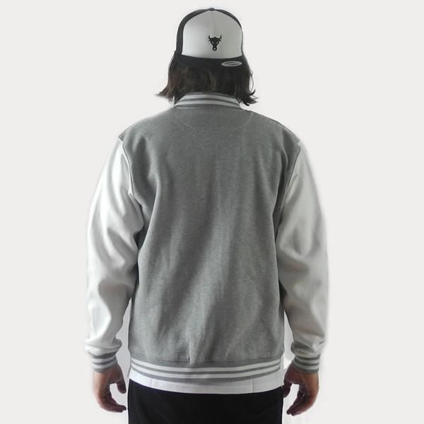 Grey / White Collegejacket with an embroidered thisisthebull logo on the left breast. #Streetwear #Munich