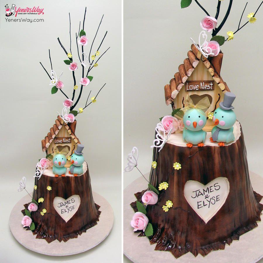 Love Nest Wedding Cake Cute little wedding cake :)  Learn cake decorating online at http://www.yenersway.com