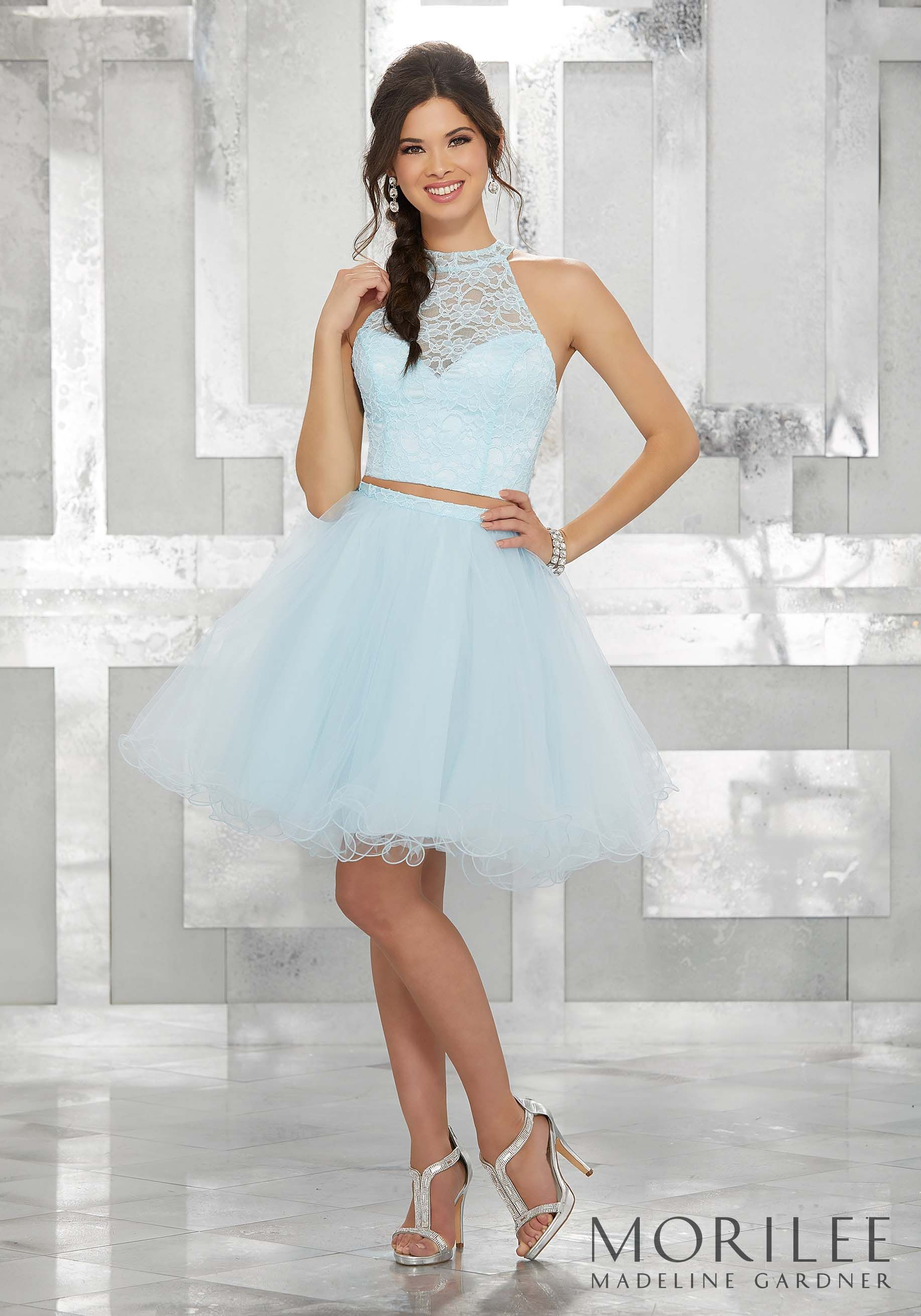 45fedf80da6 Light Blue Two Piece Party Dress with High Halter Lace Bodice and Tulle  Skirt. Colors Available  Blush