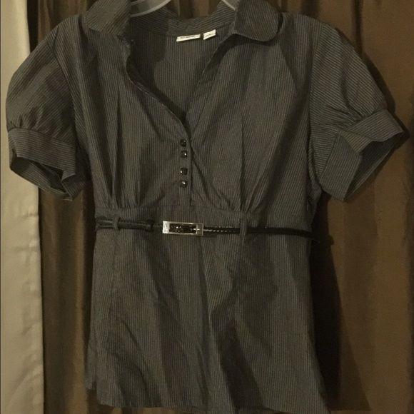 Dark gray Pin stripe shirt with thin belt Dark gray Pin stripe shirt with thin belt Cato Tops Blouses