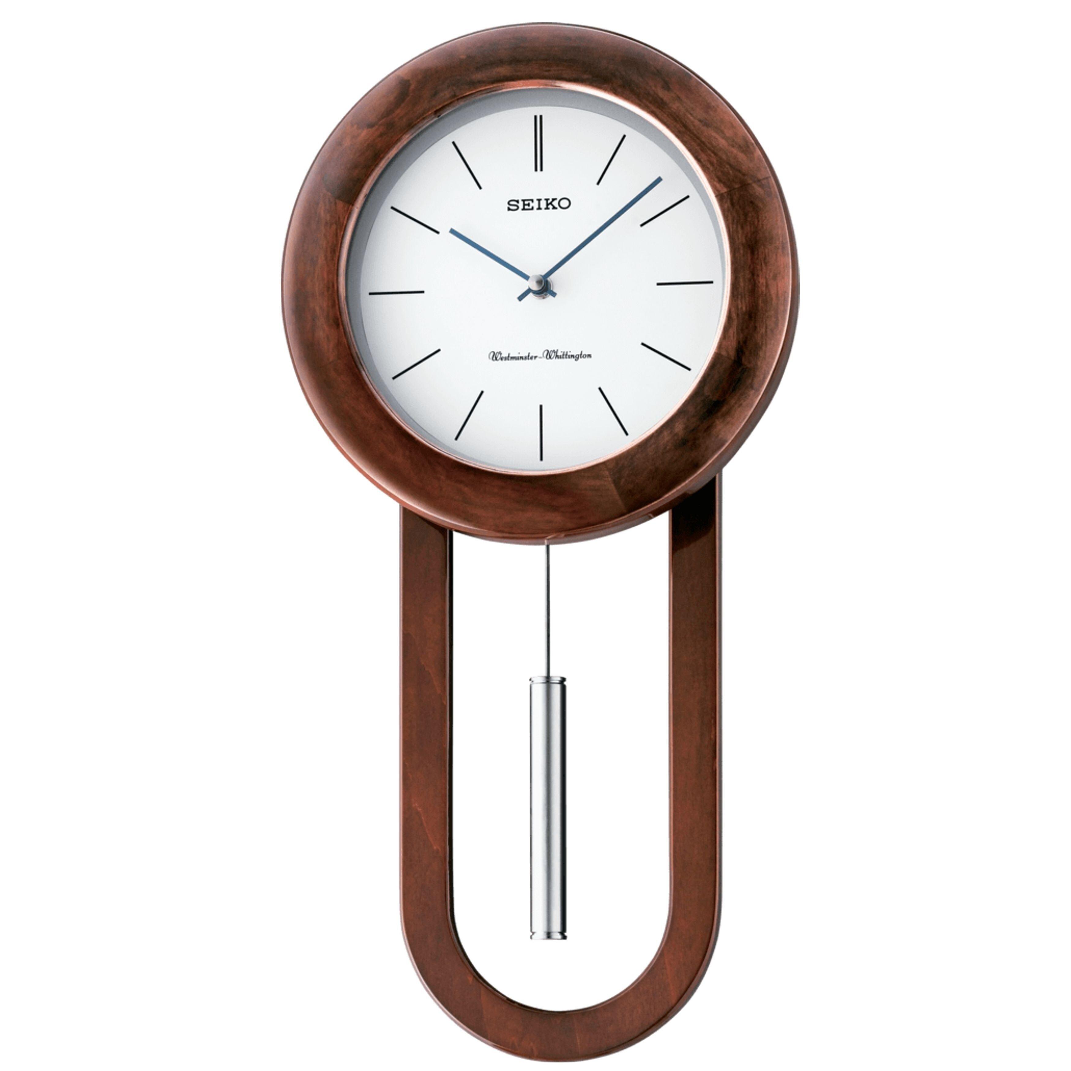 Seiko Circular Sleek Wall Clock With Pendulum And Dual Chimes Chiming Brown Wood Pendulum Wall Clock Clock Wall Clock Wooden