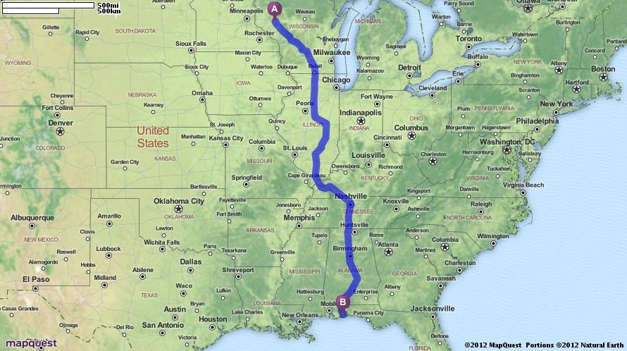 Driving Directions from Eau Claire, Wisconsin to Pensacola, Florida on