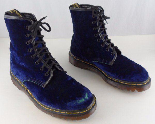 RARE VINTAGE DOC DR. MARTENS BOOTS ~ UK 6 US 8 - 8.5 ~ BLUE VELVET w/ GREEN #DrMartens #AnkleBoots