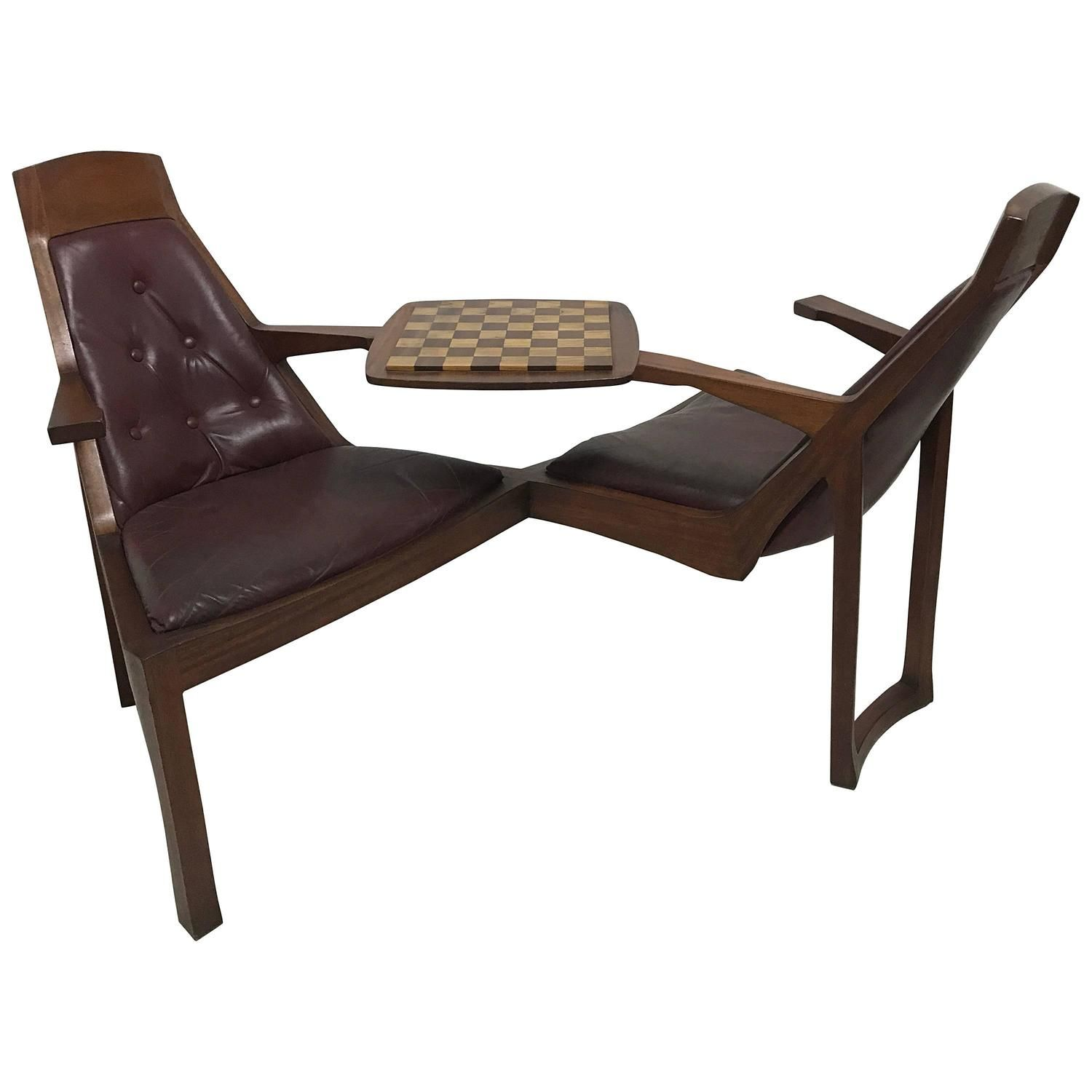 Exceptional Danish Style Teak Duet Seat For Lovers Of Chess Signed R Bellinger, 1977 Good Ideas